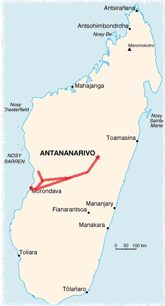 Tsiribihina river and Tsingy of Bemaraha